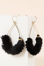 Tear Drop Wire Metal Mini Tassel Earrings - 2