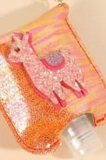 Llama Glitter Leather Kids Mini Sanitizer Holder - 3