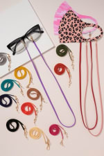 Gold Plated Suede Ribbon Multi Function Mask Lanyards - 2