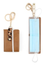 Gold Plated Animal Print Accent Mask Holder Keychain - Brown - Front