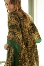 Snake Print Cozy Kimono - Green - Back