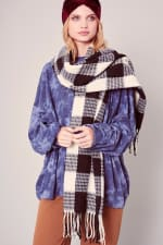Gingham Checker Soft Scarf with Fringe - Black / Cream - Front