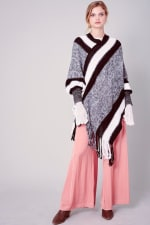 Striped Knitted Fringed Poncho - Black - Front