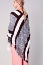 Striped Knitted Fringed Poncho - Black - Back