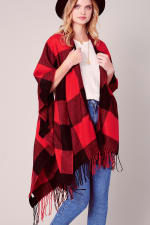 Buffalo Plaid Ruana with Fringe - Red-Black - Back