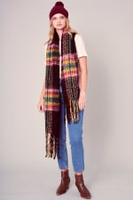 Puffy Multi-Color Plaid Fringed Long Scarf - 1