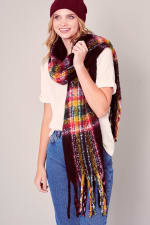 Puffy Multi-Color Plaid Fringed Long Scarf - 3
