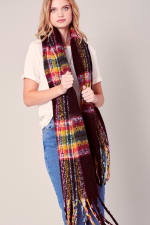 Puffy Multi-Color Plaid Fringed Long Scarf - 2