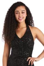 Morgan & Co. Long Stretch Sequin Mock Wrap Dress - 3