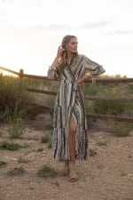 Broken Stripe Wrap  Maxi Dress - Natural Multi - Front