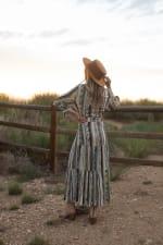 Broken Stripe Wrap  Maxi Dress - Natural Multi - Back