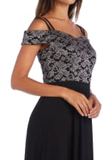 Morgan & Co. Off The Shoulder Lace Bodice - Black / Taupe - Detail