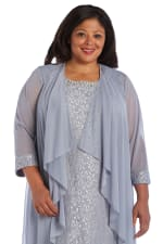 Beaded Lace Neckline with Cascade Jacket - Plus - Silver - Detail