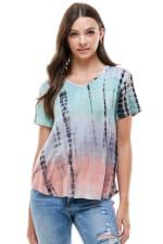 Women Tie Dye V Neck Loose Fit T Shirt Top - 3