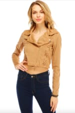 Suede Lace Up Detailed Moto Jacket - Taupe - Front