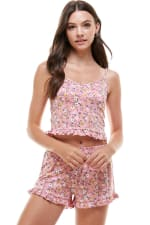Floral Ditsy & Star Blushed Camisole Top & Short With Ruffle Lounge Set - 4