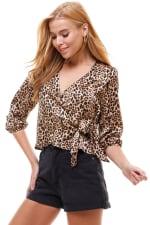 Satin Leopard Patterned Wrap Blouse - 5