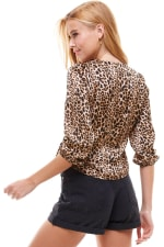 Satin Leopard Patterned Wrap Blouse - 4