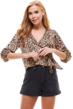 Satin Leopard Patterned Wrap Blouse - 6