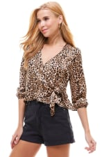 Satin Leopard Patterned Wrap Blouse - 3