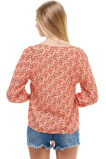 Ditsy Button Front Tie Waist Top - Coral - Back