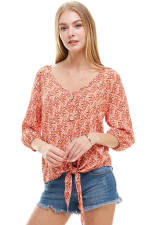 Ditsy Button Front Tie Waist Top - Coral - Front