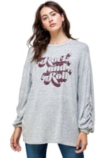 Cozy Knit Loose Fit Top - Grey - Front