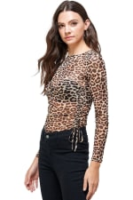 Leopard Mesh Side Ruched Top - 4