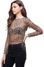 Leopard Mesh Side Ruched Top - 5