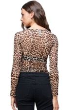 Leopard Mesh Side Ruched Top - 2