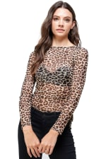 Leopard Mesh Side Ruched Top - 1