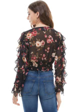 Ruffle Sleeves Floral Blouse - Black - Back
