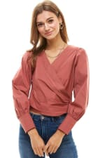 Poplin Wrap Style Long Sleeves Shirts - 1