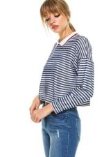 Stripe Cropped Polo Shirts - 3