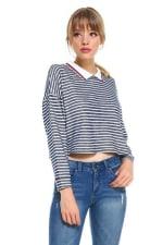 Stripe Cropped Polo Shirts - 4