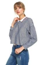 Stripe Cropped Polo Shirts - 6
