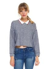 Stripe Cropped Polo Shirts - 1