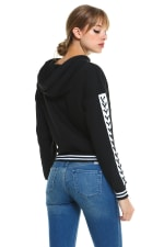 Fleece Lace Up Detail Sleeve Hooded Top - Black - Back