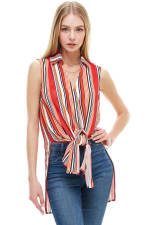Stripe Sleeveless Pop Over Tunic Shirts - 1