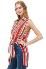 Stripe Sleeveless Pop Over Tunic Shirts - 2