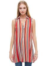 Stripe Sleeveless Pop Over Tunic Shirts - 3