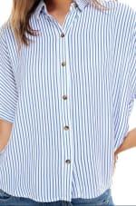 Stripes Pattern Shirt - Ivory / Blue Stripes - Detail