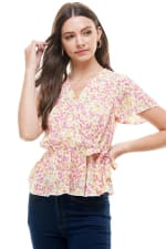 Ditsy Floral Peplum Blouse - Ivory - Front
