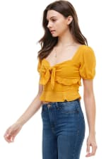 Bow Front Puff Sleeves Top - 4