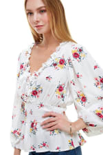 Floral Frill Detailed Long Sleeves Blouse - 4