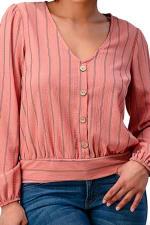 Button Detail Stripe Blouse - 3