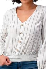 Button Detail Stripe Blouse - White - Detail