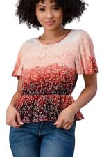 Tie Dye Floral Cinched Waist Top - 5