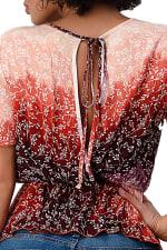 Tie Dye Floral Cinched Waist Top - 6