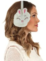 Animal Designed Earmuffs - White - Back